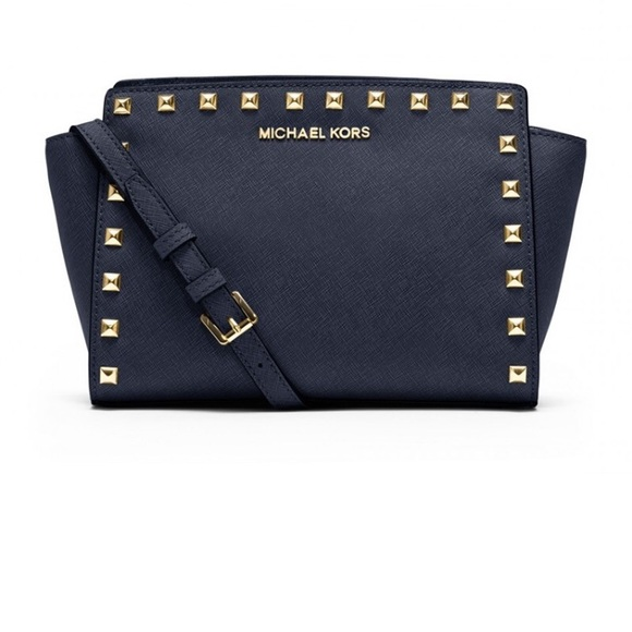 1720fb29915be ... inexpensive michael kors mini selma studded saffiano crossbody d542d  acfb4